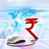 Rupees symbol connected to a computer mouse. Digital illustration of Rupees symbol connected to a computer mouse stock illustration