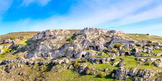 Rupestrian church, historic building. Sassi of Matera. Basilicata under blue sky Royalty Free Stock Photos