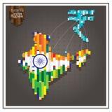 Rupia del dinero del negocio que gasta las líneas de puntos de la India el gris del mapa Foto de archivo libre de regalías