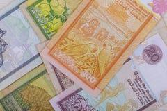 Rupia dello Sri Lanka delle banconote di valuta in varia denominazione immagini stock libere da diritti
