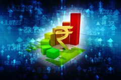 Rupia indiana com gráfico de negócio no fundo digital Imagem de Stock