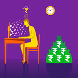 Rupia o dinero de ganancia en línea con negocio en línea Fotos de archivo libres de regalías