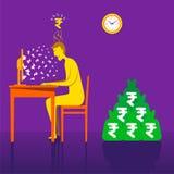 Rupia o soldi di guadagno online con l'affare online Fotografie Stock Libere da Diritti