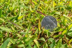 Rupiah coin money on green grass. Single two hundred Indonesia Rupiah coin money on green grass Royalty Free Stock Photography