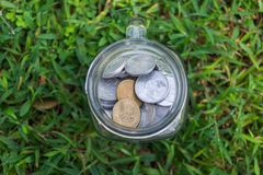 Rupiah Coin Money in jar on Green Grass Nature Background. Rupiah Coin Money in jar bottle on Green Grass Nature Background Royalty Free Stock Images