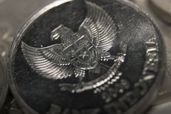 Rupiah coins stack macro close up money Stock Photo