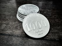 1000 rupiah. Indonesian currency, Rupiah, 1000 IDR in coin Stock Photography
