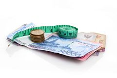Rupiah with measure tape Royalty Free Stock Images