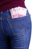 Rupiah Money in Jeans Pocket Stock Images