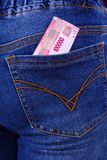 Rupiah Money in Jeans Pocket Stock Photo