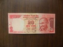 20 rupias de billete de banco de la India imagen de archivo libre de regalías
