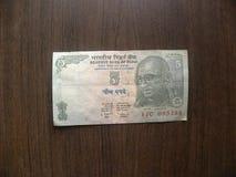 5 rupias de nota de la India imagen de archivo