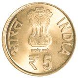 5 rupias indianas de moeda Imagem de Stock Royalty Free