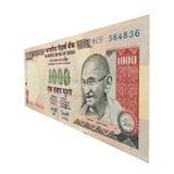1000 rupie anmärkning med Mahatma Gandhi Royaltyfria Bilder