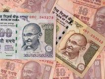 Rupie indiane di fondo delle banconote, primo piano dei fondi dell'India Fotografia Stock Libera da Diritti