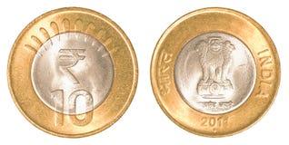 10 rupie indiane di moneta Fotografie Stock