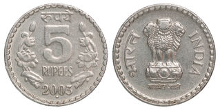 Rupie indiane di moneta Fotografie Stock