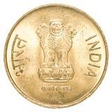 5 rupie indiane di moneta Fotografia Stock