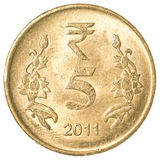5 rupie indiane di moneta Immagini Stock