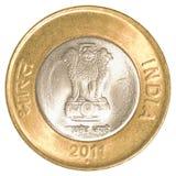 10 rupie indiane di moneta Fotografia Stock Libera da Diritti
