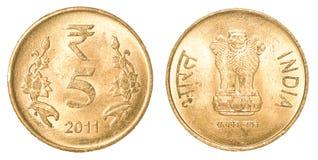 5 rupie indiane di moneta Immagine Stock Libera da Diritti