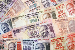 Rupie indiane moderne di disposizione di valuta di carta Fotografia Stock