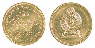 1 Rupienmünze Sri Lankan Stockbilder