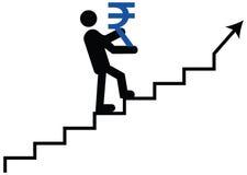 Rupii wartość iść up ikona Rupii pięcie Obrazy Stock