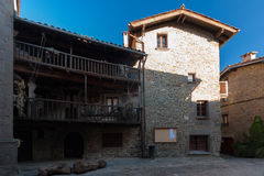 RUPIT, CATALONIA, SPAIN April 2016: Placa of  the medieval town of Rupit Royalty Free Stock Photo