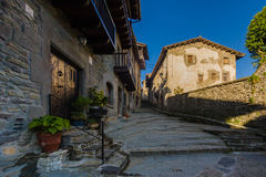 RUPIT, CATALONIA, SPAIN April 2016: A view of the medieval street on volcanic rock Stock Photography
