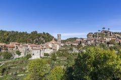 RUPIT SPANIEN - OKTOBER 29, 2017: Sikt av den medeltida Rupit byn i länet av Osona, Catalonia, Spanien royaltyfria foton