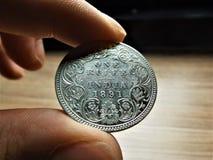 1 ruppee de plata de la India imagen de archivo