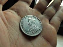 1 ruppee de plata de la India imagen de archivo libre de regalías