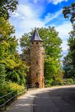 The Ruprechtsurm in Oppenheim. The Ruprechtsturm also known as Schneiderturm is a stony lookout tower in the Rhineland-Palatinate of Oppenheim in Rhineland stock photo