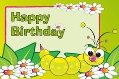 Rups en bloemen - de kaart van de Verjaardag Royalty-vrije Stock Fotografie