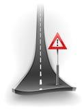 Ruptura da estrada asfaltada com sinal de aviso Fotografia de Stock Royalty Free