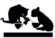 Ruptura de café com gato e cão ilustração royalty free