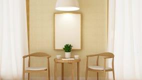 Ruptura de café com quadro e rendição pendurado da lâmpada -3D Fotos de Stock