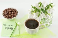 Ruptura de café da primavera com doces Fotografia de Stock Royalty Free