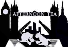 Ruptura de chá em Londres sob a ponte ilustração royalty free