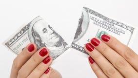 ruptura de 100 dólares no branco Fotos de Stock Royalty Free