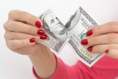 ruptura de 100 dólares no branco Fotografia de Stock Royalty Free