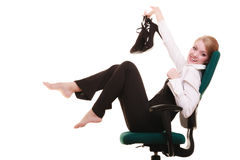 Ruptura do trabalho Mulher de negócios que relaxa na cadeira Fotos de Stock Royalty Free