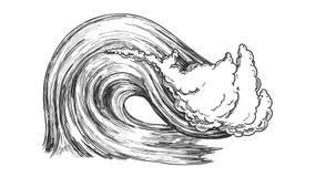Rupture de l'Océan Atlantique Marine Wave Storm Vector illustration stock