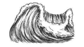 Rupture de l'océan pacifique Marine Wave Storm Vector illustration de vecteur