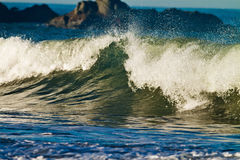Rupture de la vague verte Photos stock
