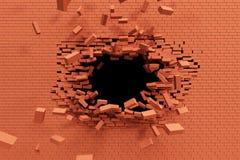 Rupture du mur de briques illustration libre de droits