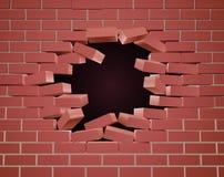 Rupture du trou de mur de briques illustration libre de droits