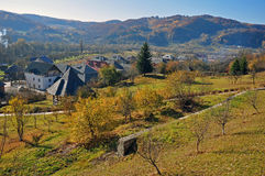 Rural accommodation village. Rural accommodation in Barsana village under the forest at high altitude in northern Transylvania Maramures land of Romania stock photo