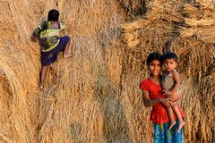 Rural Adolescent. An adolescent girl holding her little brother in the rural village of West Bengal-India Royalty Free Stock Image